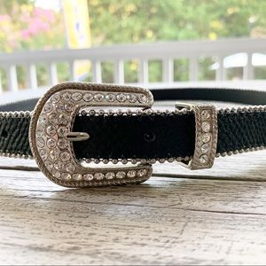 Vintage CACHE Bead Rhinestone Buckle Leather Belt